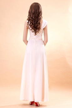 Ankle Length Straps Light Champagne Chiffon Prom Dress