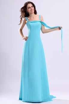 Trendy A-line Blue Chiffon Evening Dress