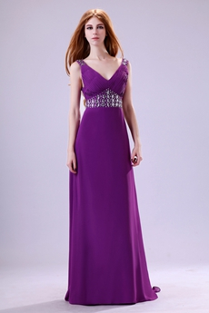 Graceful Deep V-Neckline Plum Chiffon Formal Evening Dress