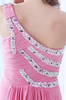 Urbane One Shoulder A-line Pink Chiffon Prom Dress With Beads