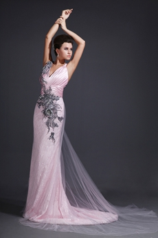 Fashionable V-Neckline A-line Pink & Black Celebrity Evening Dress