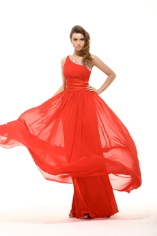 Amazing One Shoulder A-line Red Chiffon Formal Prom Dress For Juniors