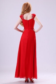 Impressive Straps A-line Ankle Length Red Chiffon Graduation Dress