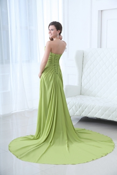 Exquisite Strapless A-line Sage Green Chiffon Prom Dress 2016