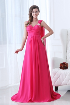 Pretty Straps A-line Full Length Fuchsia Junior Prom Dress