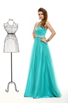 Cheap Halter Teal Color Princess Quince Dress