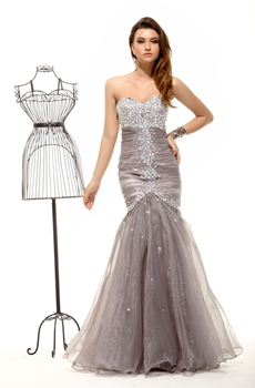 Luxury Trumpet Silver Gray Sweet Sixteen Dress Full Length