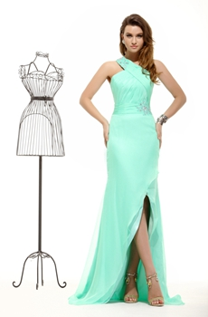 Noble One Shoulder Tiffany Green 8th Grade Graduation Dress