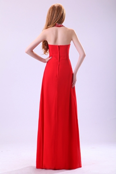 Delicate Top Halter Full Length Red Chiffon Prom Party Dress
