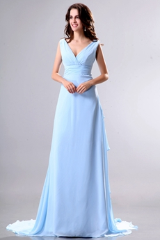 Dazzling Plunge Neckline Full Length Sky Blue Prom Party Dress V-Back