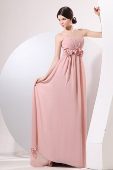 Romantic Strapless A-line Full Length Dusty Rose Formal Evening Dress
