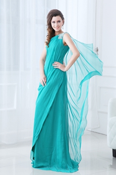 Elegance One Shoulder Full Length Teal Chiffon Mother Of The Bride Dress