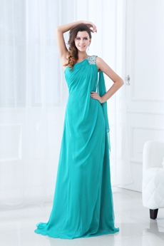 Elegance One Shoulder Full Length Teal Chiffon Mother Of The Bride Dress
