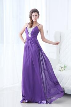 Beautiful Spaghetti Straps Violet Chiffon Formal Evening Dress With Diamonds