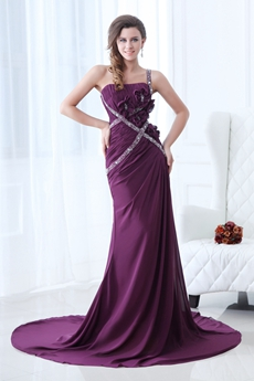 Amazing One Straps A-line Purple Chiffon Formal Evening Dress