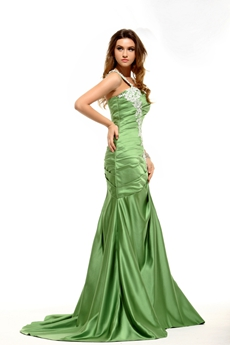 One Straps Sheath Green Satin Formal Evening Dress With Appliques