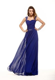 Straps Column Full Length Royal Blue Evening Gown