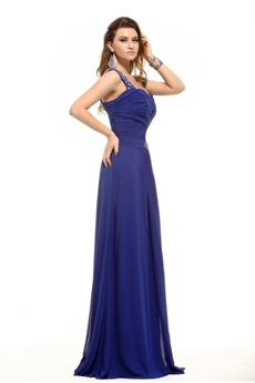 Straps Column Full Length Royal Blue Evening Gown