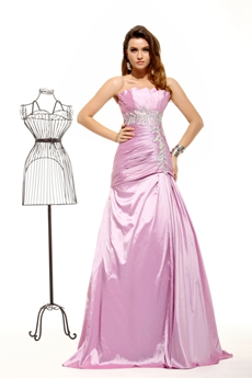 Charming Scalloped Neckline Lilac Taffeta Evening Dress