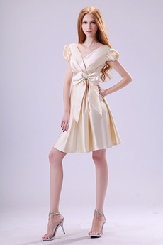 V-Neckline Cap Sleeves Mini Length Champagne Satin Wedding Guest Dress