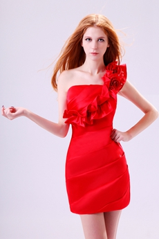 New Stylish One Shoulder Mini Length Red Cocktail Dress With Floral Decoration