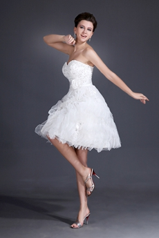 Cute Sweetheart Ball Gown Mini Length White Organza Sweet 16 Dress