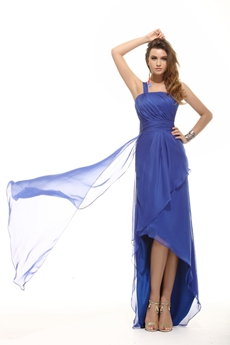 Affordable One Shoulder Royal Blue College Graduation Dress