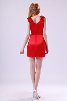 Chic Straps A-line Mini Length Red Homecoming Dress