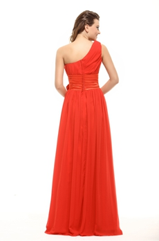 Simple One Shoulder Red Bridesmaid Dress With Sash