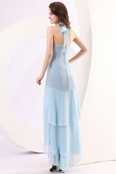 Stunning Halter High Low Sky Blue Chiffon Graduation Dress
