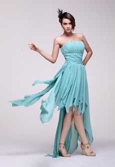 Pretty Strapless High Low Jade Green Prom Dress