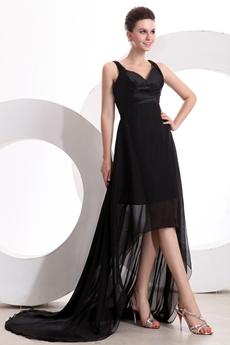 Charming V-Neckline Black Chiffon High Low Graduation Dress