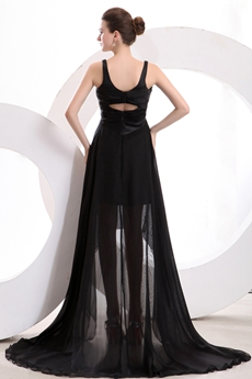 Charming V-Neckline Black Chiffon High Low Graduation Dress