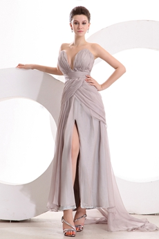 Plunge Neckline Tea Length Silver Gray Informal Evening Dress Front Slit