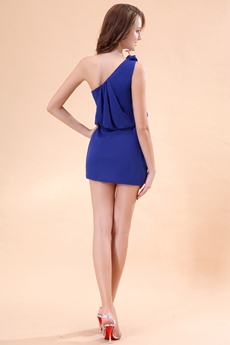 Chic One Shoulder Mini Length Royal Blue Cocktail Dress