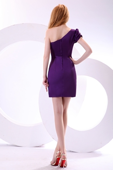 Modern One Shoulder Mini Length Purple Wedding Guest Dress