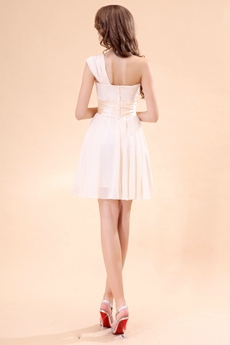 Mini Length One Shoulder Light Champagne Cut Prom Dress For Juniors