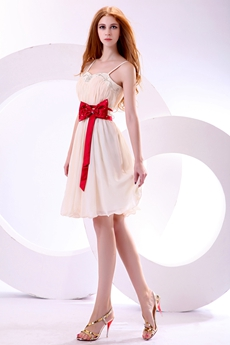 Sassy Knee Length Champagne Homecoming Dress With Red Sash