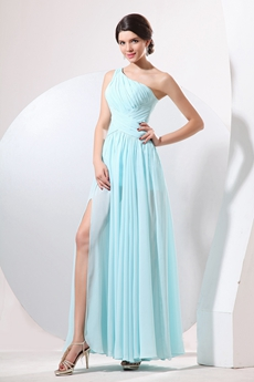 Noble One Shoulder Ankle Length Tiffany Green High School Graduation Dress