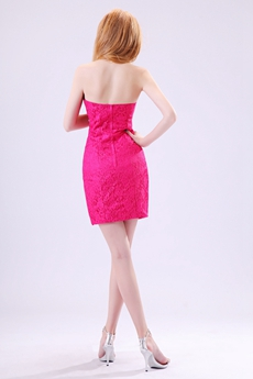 Chic Strapless Sheath Mini Length Fuchsia Satin & Lace Cocktail Dress