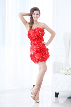 Chic Sheath Mini Length Red Cocktail Dress With Bowknot