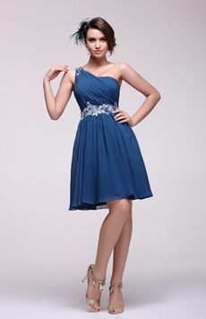 Delicate One Shoulder Dark Navy Junior Prom Dress