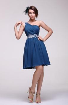 Delicate One Shoulder Dark Navy Junior Prom Dress