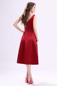 Modest V-Neckline Tea Length Red Wedding Guest Dress