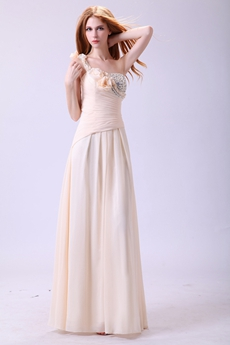 Exclusive One Straps Full Length Champagne Chiffon Prom Dress For Juniors