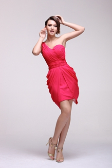 Flattering One Shoulder Mini Length Hot Pink Cocktail Dress