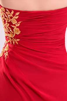 Ankle Length Strapless Red Chiffon Cocktail Dress With Gold Appliques