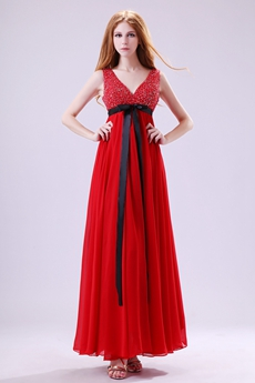 Gorgeous Ankle Length Red Chiffon Plus Size Prom Dress For Juniors