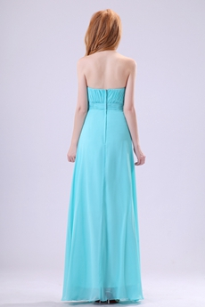 Adorable A-line Full Length Blue Chiffon Prom Dress With Rhinestones