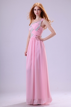 Pretty One Shoulder Column Pink Chiffon Prom Dress With Sequins